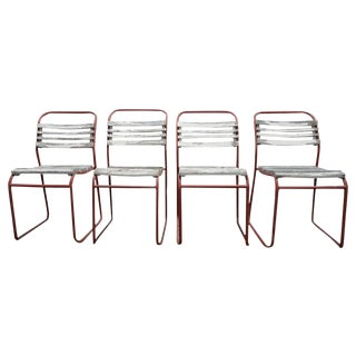 Set of European Metal and Wood Outdoor/ Dining Chairs For Sale