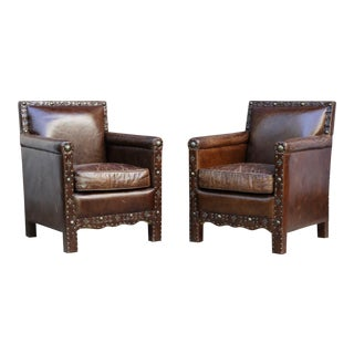 Halo Asia Ltd. Distressed Leather Armchairs - a Pair