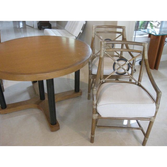 Art Deco McGuire Target Bamboo Chairs & Dining Table - Set of 5 For Sale - Image 3 of 12