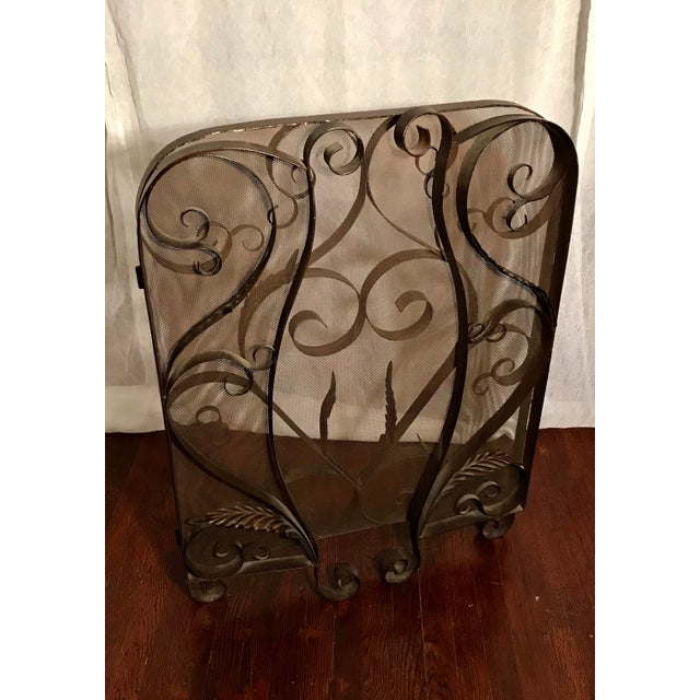 Mid 20th Century Spanish Revival Mid-Century Wrought Iron Scroll Work Fireplace Screen For Sale - Image 5 of 7