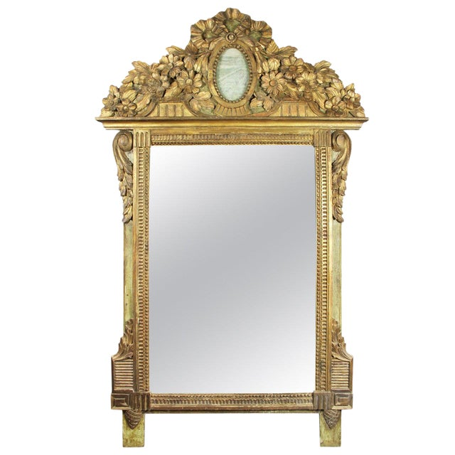 Louis XVI Giltwood and Green Painted Mirror For Sale