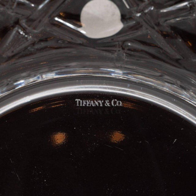 Glass Set of Four Glass Basketweave Dessert/Hors d'Oeuvres Plates by Tiffany & Co. For Sale - Image 7 of 9