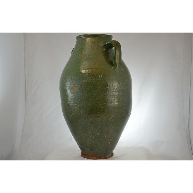 Ceramic Turkish Oversize Dark Green Glazed Urn For Sale - Image 7 of 9