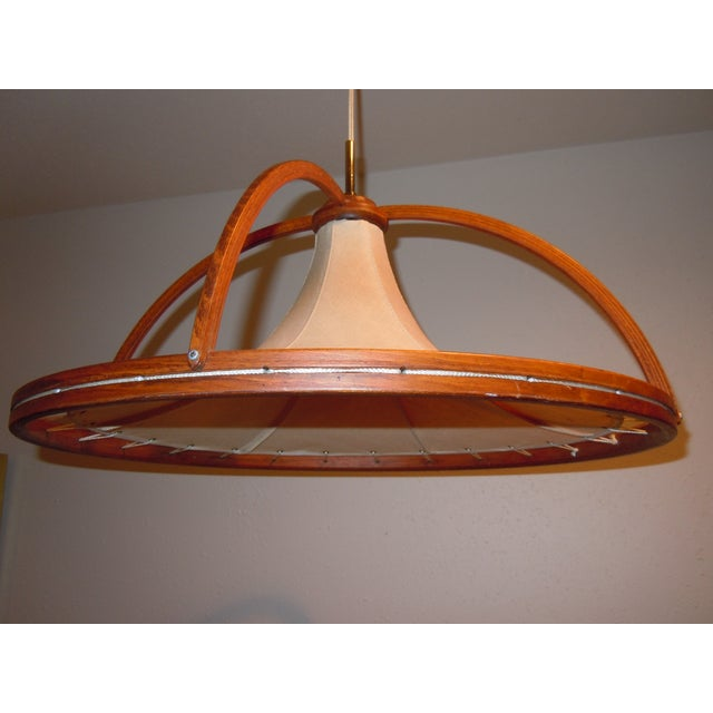 Danish Modern Teak & Canvas Pendant Light - Image 3 of 7
