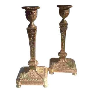 Mid 19th C. French Bronze Dore Candlesticks For Sale