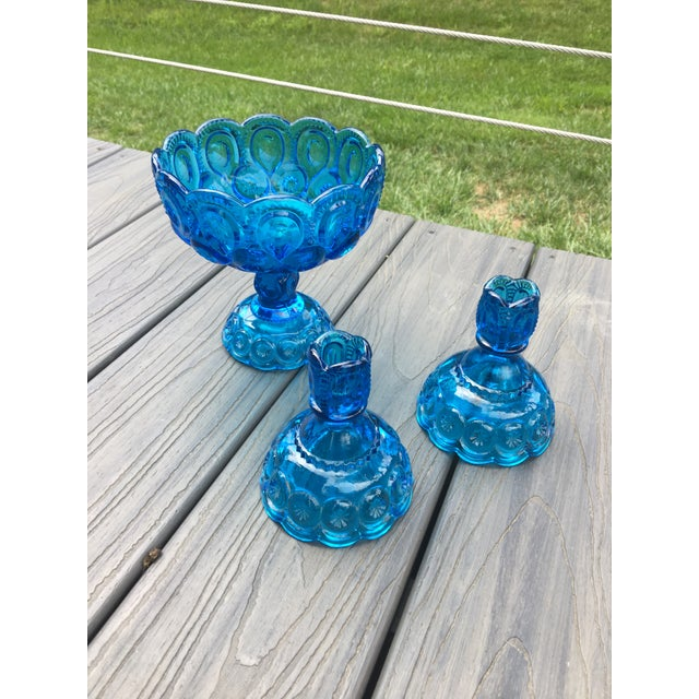 Glass Vintage Mid-Century Electric Blue Glass Dish and Candlestick Holders - Set of 3 For Sale - Image 7 of 7