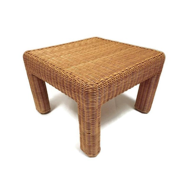 Vintage Wicker Footstool Rattan Ottoman For Sale - Image 4 of 12