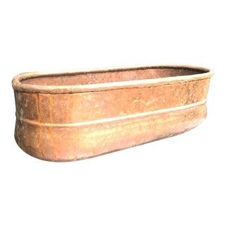 Hammered Copper Oblong Planter For Sale