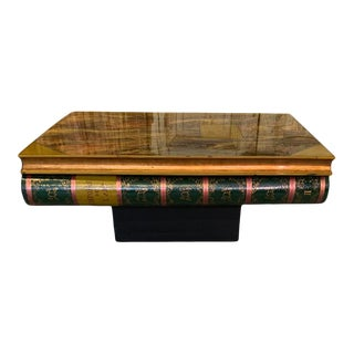 French Lacquered Wood Coffee Table, Stylized Faux Books For Sale