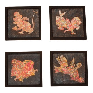 Abstract Animal Paintings - Set of 4