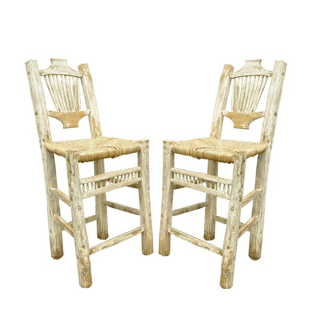 2 Rustic Country Log Cabin Wood Branch Rush Seat Bar Stools Chair Hickory Style For Sale - Image 11 of 11