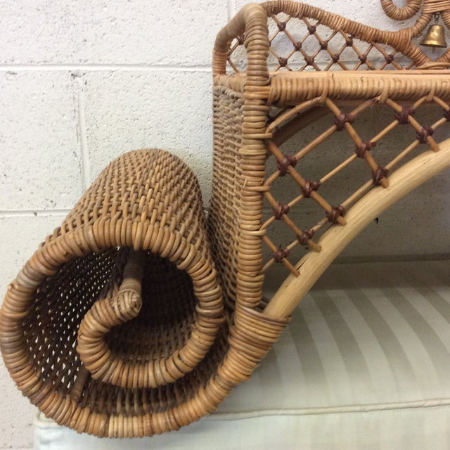 Retired MacKenzie Childs Ajiro Weave Wicker Rattan Scrolled Bed Tray For Sale - Image 4 of 11