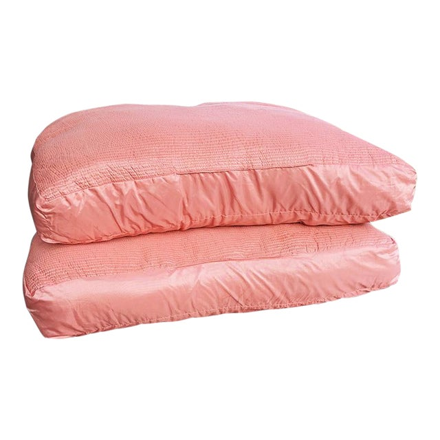1970s Square Pink Coral Silk Floor Pillows - a Pair For Sale