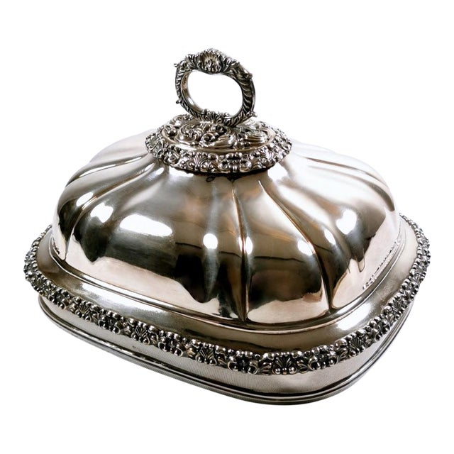 Old Sheffield Plate Dome Shaped Dish Cover With Tray William IV 1835 - 2 Pieces For Sale