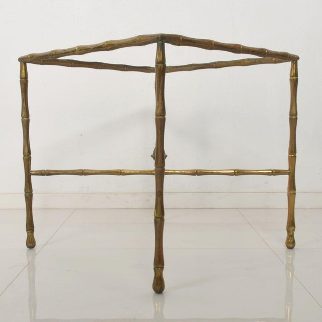 Mid-Century Modern Custom Hollywood Faux Bamboo Brass Side Table by Arturo Pani For Sale - Image 3 of 9
