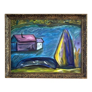 """1980s Colette Calilhanna """"Purple Village"""" Expressionist Acrylic Framed Painting For Sale"""
