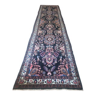 "1930's Antique Malayer Floral Black Wool Runner Rug - 3'10""x16'4"" For Sale"