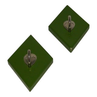 1990s Traditional Moss Green Diamond Shape Wall Hooks - a Pair For Sale