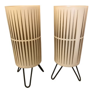 Mid Century Tripod Pair of Table Lamps Gold, Cream & Black For Sale