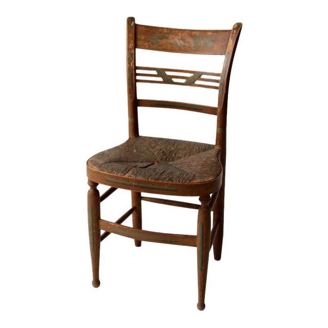 Antique Stenciled Rush Seat Chair - Antique Stenciled Rush Seat Chair Chairish