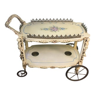 Antique Hand Painted Wooden Tea Cart For Sale