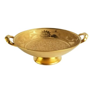 Vintage Osborne Art Nouveau Chicago Pedestal Gold Bowl Etched Signed Water Lilies For Sale