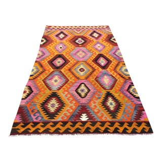 Pink & Orange Vintage Turkish Kilim Rug For Sale