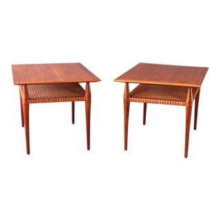 Vintage Teak Cane Side Tables - a Pair For Sale