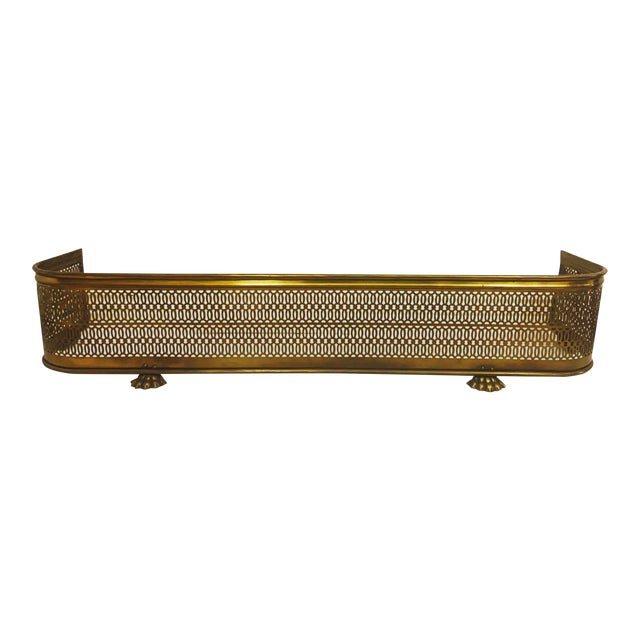 Vintage Brass Claw Foot Fireplace Fender For Sale