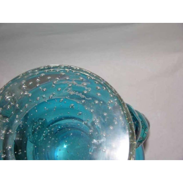 Contemporary Signed Italian Sky Blue Murano Glass Vase by Flavio Costantini For Sale - Image 3 of 10