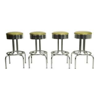 Chrome Bar Counter Stools - Set of 4 For Sale