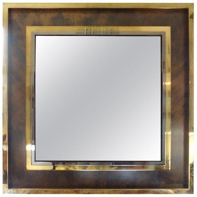 Italian Romeo Rega Style Mid-Century Modern Square Mirror For Sale - Image 9 of 10