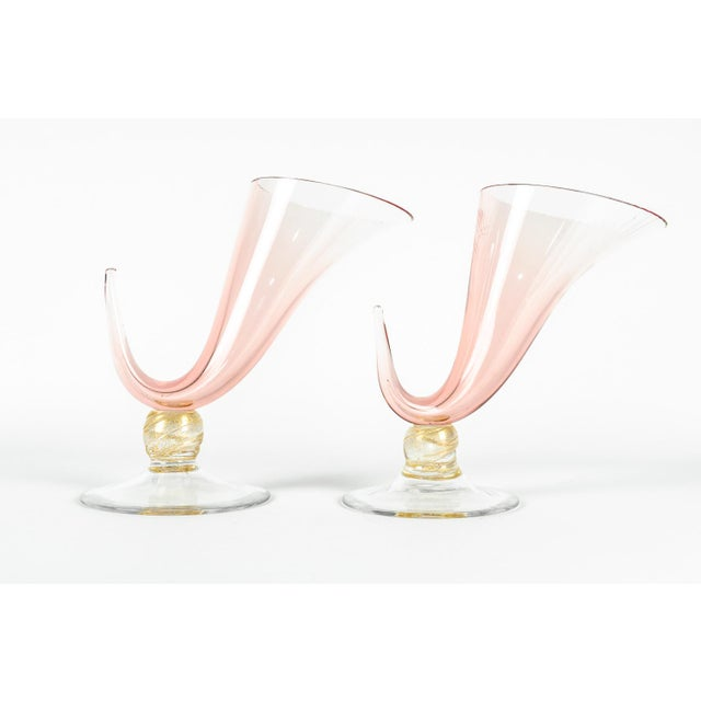 Mid-Century Modern 1950s Murano Glass Ram Horn Art Deco Style Vases - a Pair For Sale - Image 3 of 4