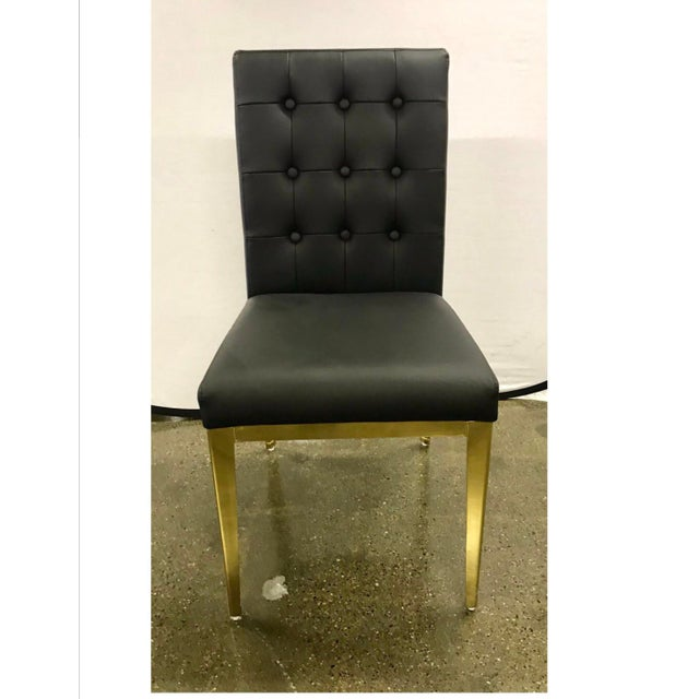 Round Glass and Brass Dining Table and Black Leather Chairs Set For Sale - Image 9 of 13