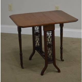 Antique Victorian Walnut Narrow Dropleaf Sutherland Side Table Preview