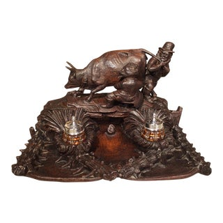 Antique Carved Inkwell, Swiss Milk Cow, Late 19th Century For Sale
