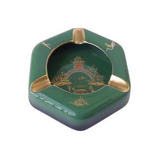 English Green Porcelain Asian Cigar Ashtray