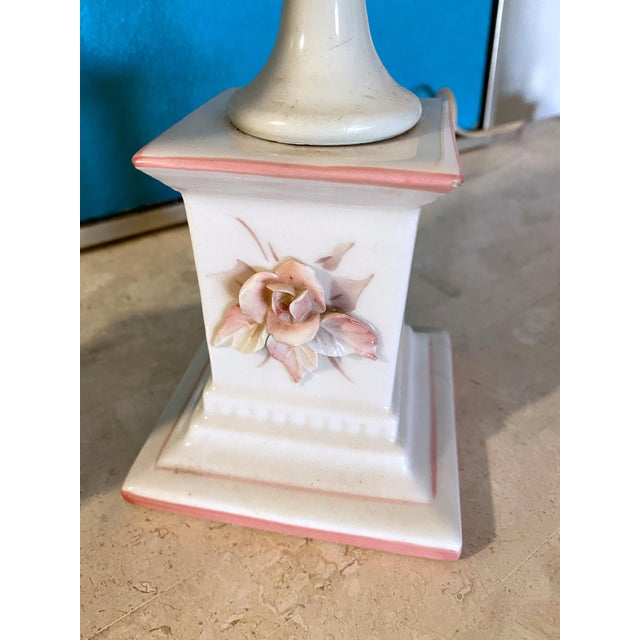 1940's Porcelain Pink Rose Lamps - a Pair For Sale In Charleston - Image 6 of 13
