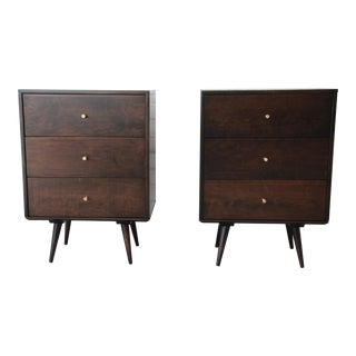 Paul McCobb Planner Group Mid-Century Modern Three-Drawer Nightstands - a Pair