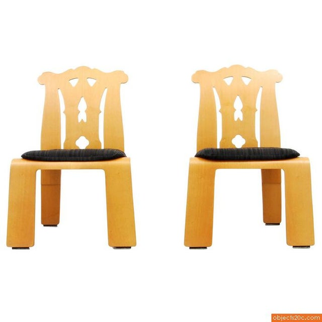 """Pair of Robert Venturi """"Chippendale"""" Chairs, 1984. Reference: Knoll – A Modernist Universe, Brian Lutz, pgs. 214, 215...."""