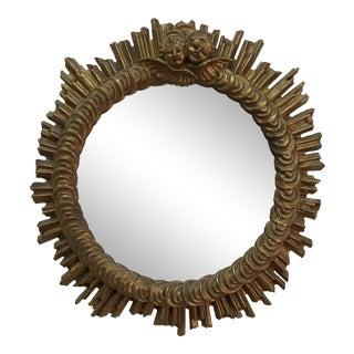 Antique Golden Cherub Starburst Mirror For Sale