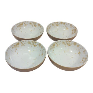 Gold and White Winter Stag Bowls - Set of 4 For Sale