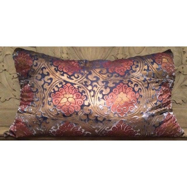 Illustration Buddhist Lotus Silk Velvet Pillow Cover For Sale - Image 3 of 3