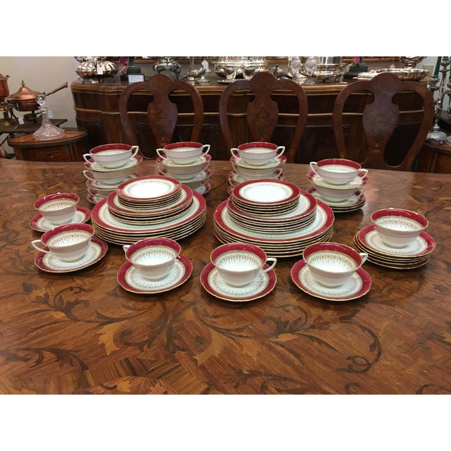 "Beautiful set of Royal Worcester ""Regency"" China: Ruby color: Made in England: 74 pc. set 12 Dinner Plates 11-8"" Salad..."