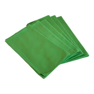 Late 20th Century Bright Green Dinner Napkins - Set of 6 For Sale