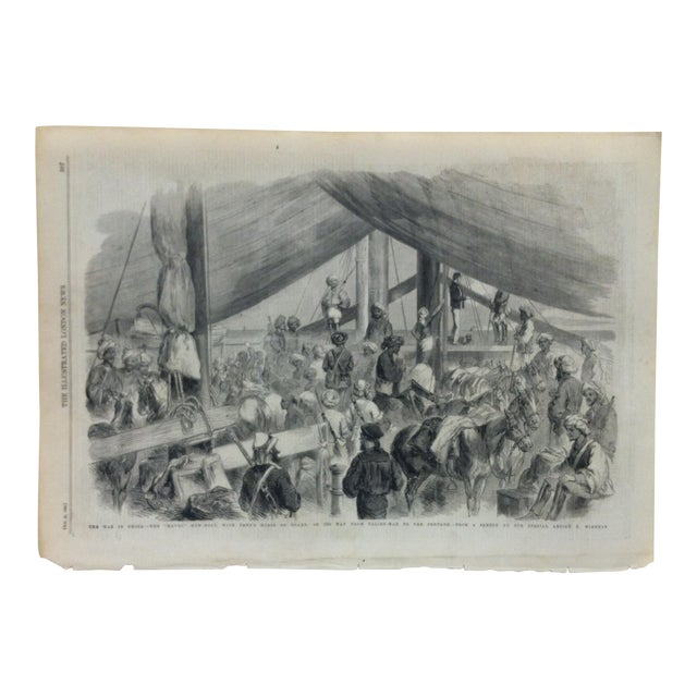"1860 Antique Illustrated London News ""The War in China - the Havoc Gun-Boat"" Print For Sale"