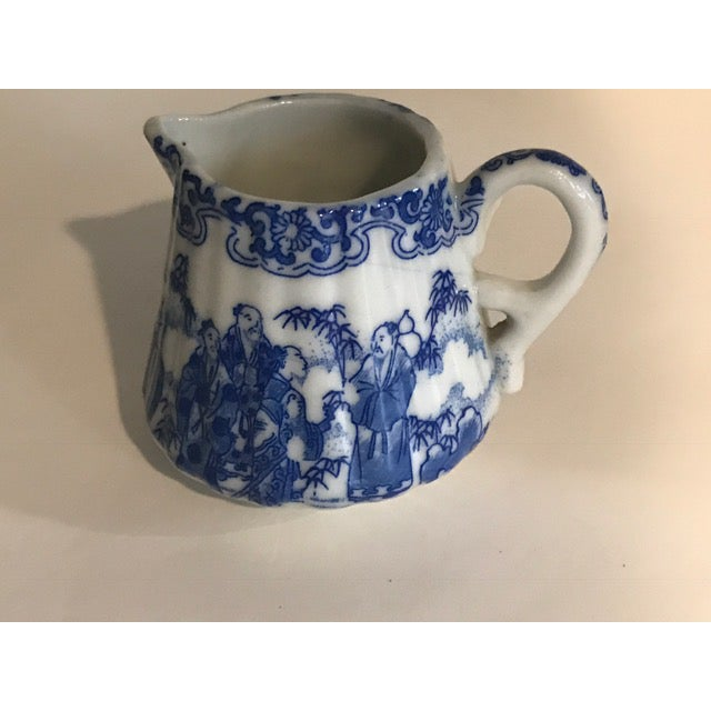 Chinoiserie Blue & White Teapot & Creamer - Image 7 of 8