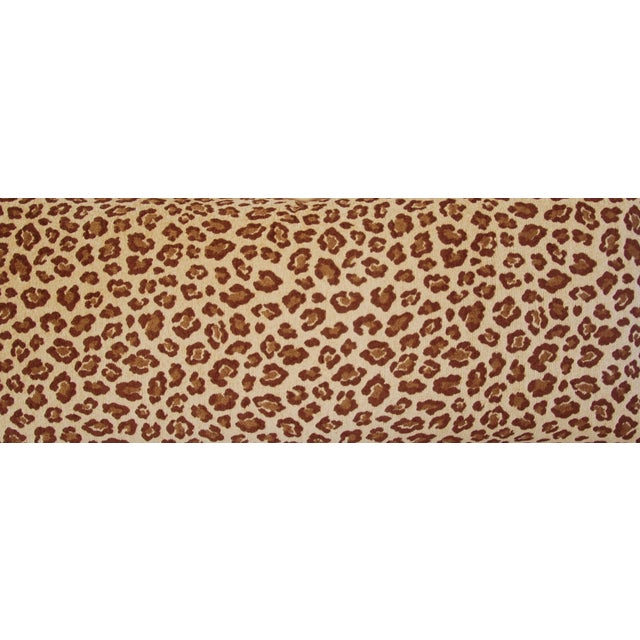 """Early 21st Century Leopard Velvet Lumbar Body Feather/Down Pillow 38"""" x 17"""" For Sale - Image 5 of 10"""