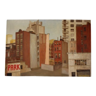 Vintage Cityscape Acrylic Painting on Canvas For Sale