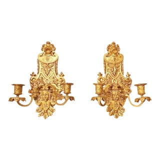 French Louis XIV Regency Style Dore Bronze Candle Sconces - a Pair For Sale
